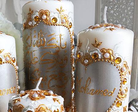 les perles et les estampes argentes incruster ou fixer sur vos objets de dcoration dcouvrez quoi ressemblera vos bougies aux motifs assortis - Bougie Mariage Oriental