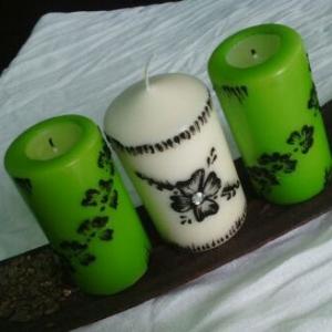 bougie-orientale-verte-blanche