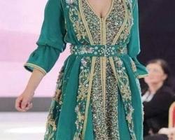 caftan dubai vert pour femme
