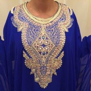 robe-dubai-bleu-crepe-polyester-pas-cher