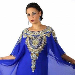 robe-dubai-bleu-dore-electrique