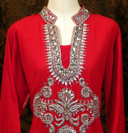 robe dubai rouge en mousseline de soie pas cher. Black Bedroom Furniture Sets. Home Design Ideas