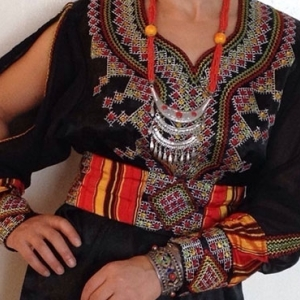 Robe kabyle jaune et noir
