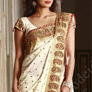 sari-indien-blanc-dore