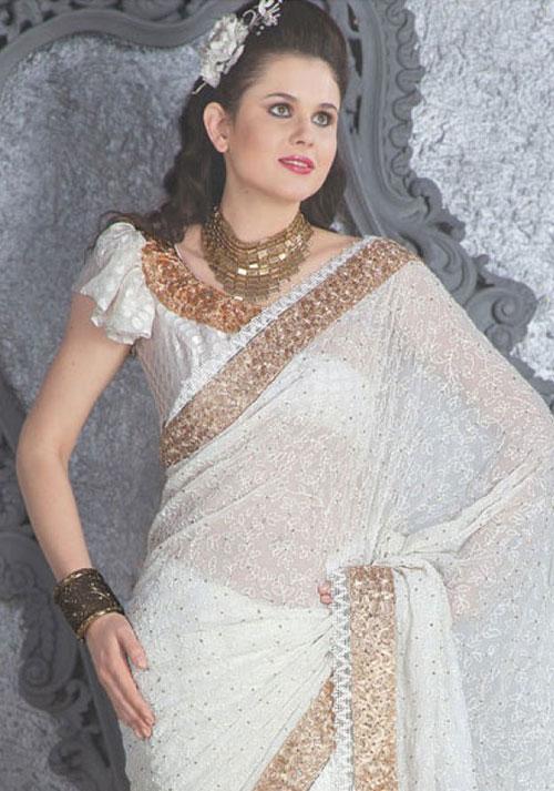 Sari Indien Blanc En Mousseline Et Satin De Soie Pas Cher