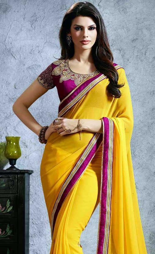 Sari Indien Jaune En Velours De Soie Pas Cher