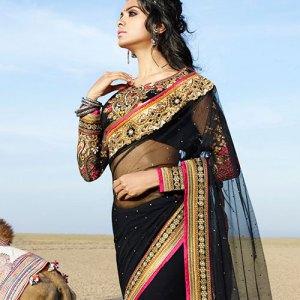 sari-indien-noir-dore