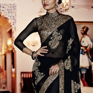 sari-indien-noir-haute-couture