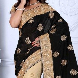 sari-indien-noir-pas-cher