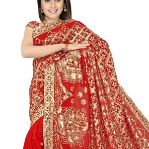 sari-indien-rouge-dore