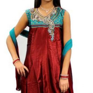 sari-indien-rouge-et-vert
