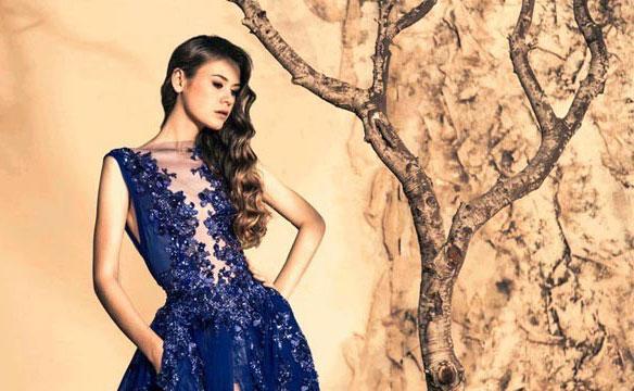 robe libanaise bleu perlee