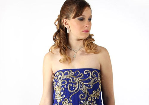 robe dubai sans manche bleu