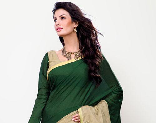 sari hindou manche longue