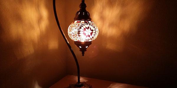 Pas Cher CuivreLaitonVerre De Lampe Orientale En Chevet v0wmnN8