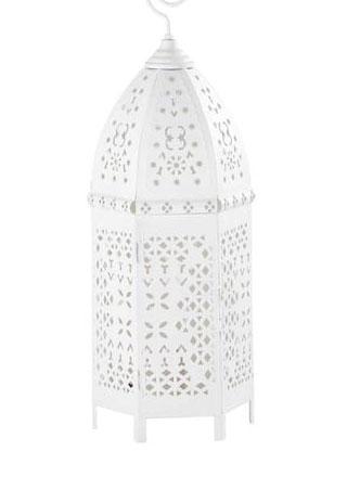 lanterne orientale blanche vente lanterne indienne design pas cher. Black Bedroom Furniture Sets. Home Design Ideas