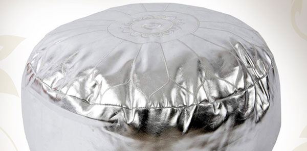 pouf marocain argenté