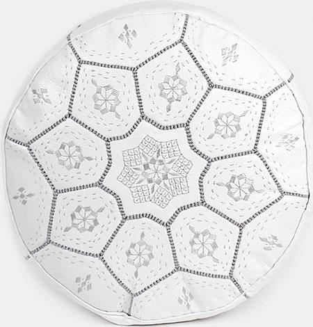pouf marocain blanc cuir