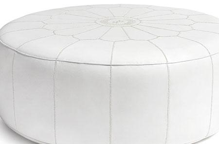 Pouf marocain blanc: vente pouf oriental blanc & design pas cher
