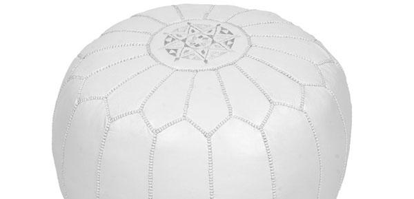 pouf marocain blanc