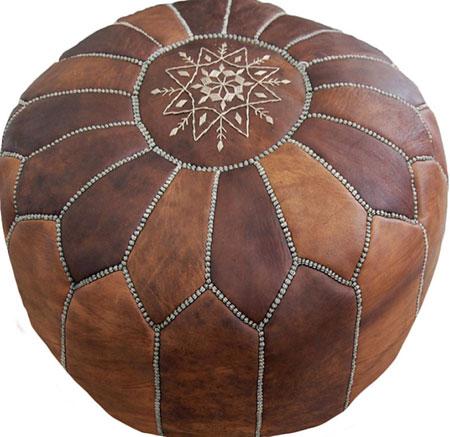 pouf marocain cuir naturel