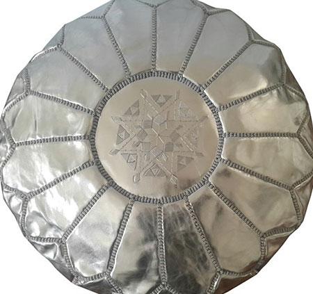 pouf marocain argent similicuir