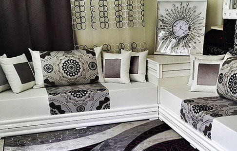 salon marocain blanc vente salon oriental blanc et noir 2016 pas cher. Black Bedroom Furniture Sets. Home Design Ideas