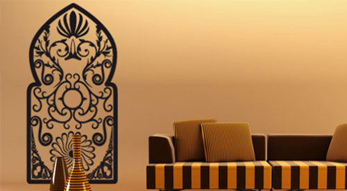 stickers porte orientale stickers porte marocaine trompe l 39 oeil pas cher. Black Bedroom Furniture Sets. Home Design Ideas