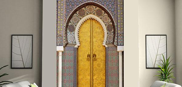 stickers porte orientale stickers porte marocaine trompe l 39 oeil pas cher. Black Bedroom Furniture Sets. Home Design Ideas