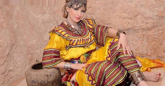 Robe kabyle traditionnelle jaune